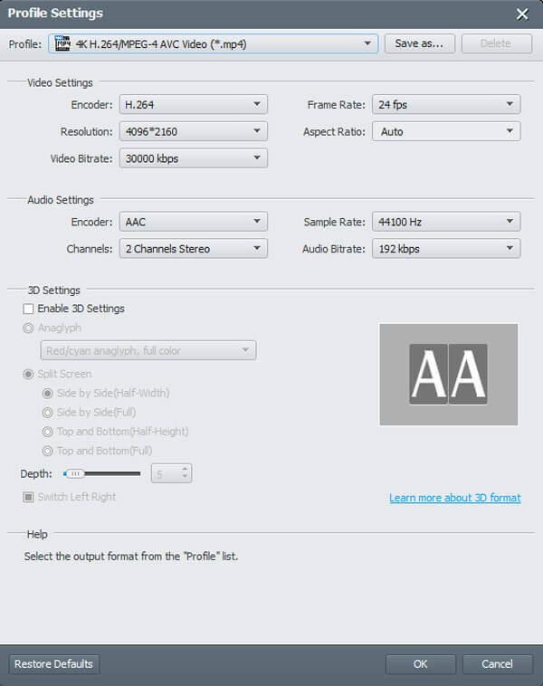 Настроить различные параметры для MP4