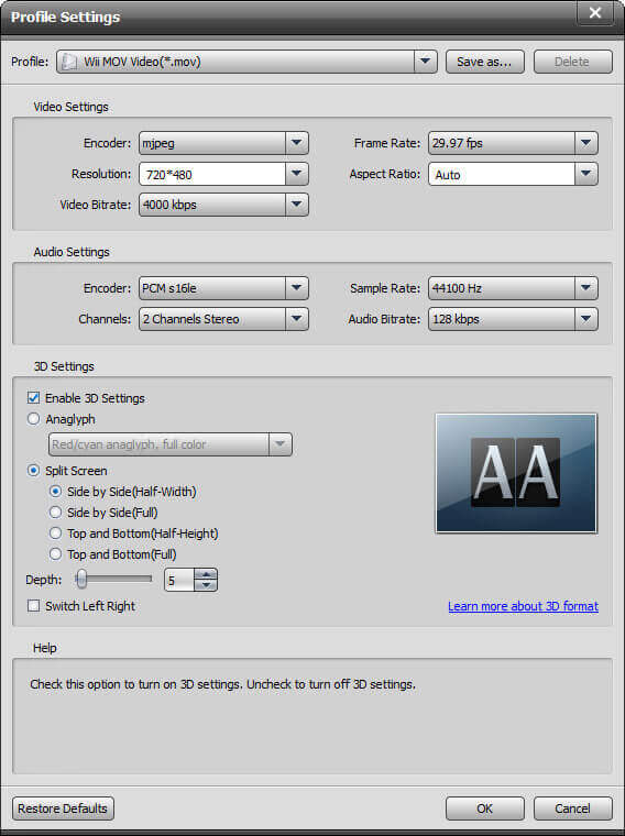 Output Settings Wii