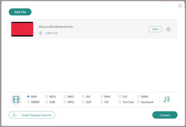 Бесплатное преобразование M4V в MP4 онлайн