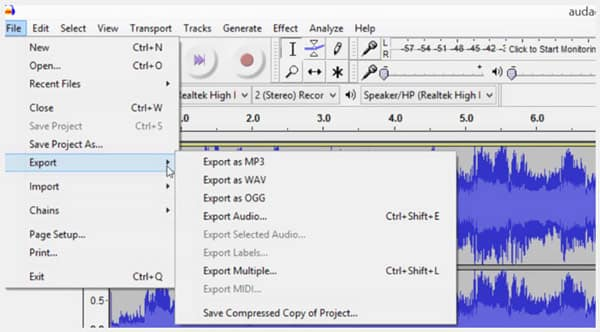Export Audacity Audio Recording