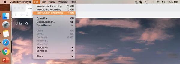 Nouvel enregistrement d'écran Quicktime