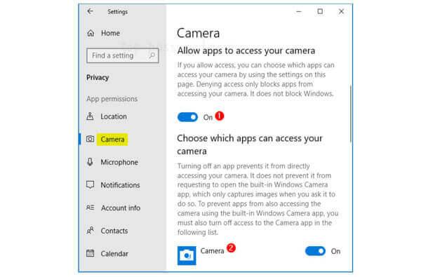 Включить доступ к камере в Windows 10