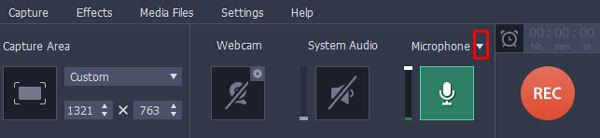 Выберите запись с микрофона Movavi Screen Recorder