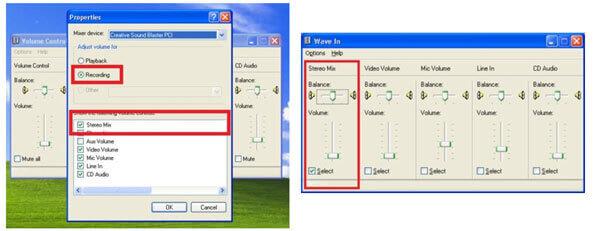 Выберите Stereo Mix в Windows
