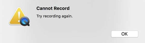 Quicktime ne peut pas enregistrer