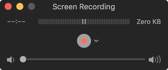 Fenêtre d'enregistrement d'écran Quicktime