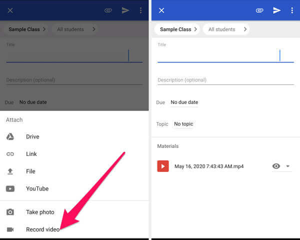 Record Video In Google Classroom App