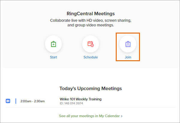 Join a meeting in ringcentral meetings