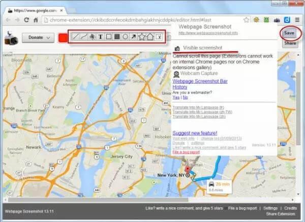 Capture d'écran de la page Web