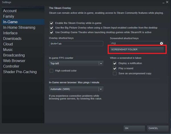 Change steam screenshot folder location