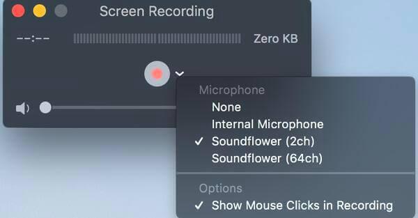 Bouton d'enregistrement d'écran