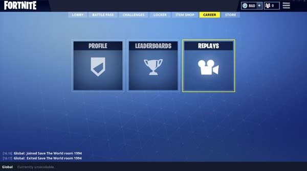 Fortnite Replays interface