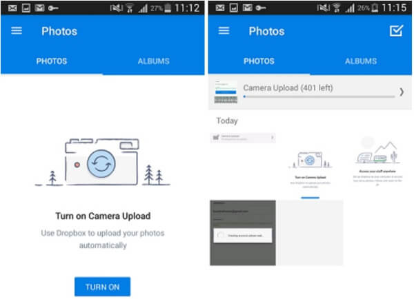 backup android photos to dropbox