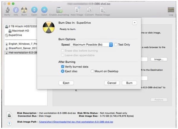 Запись ISO на DVD на Mac с помощью Дисковой утилиты