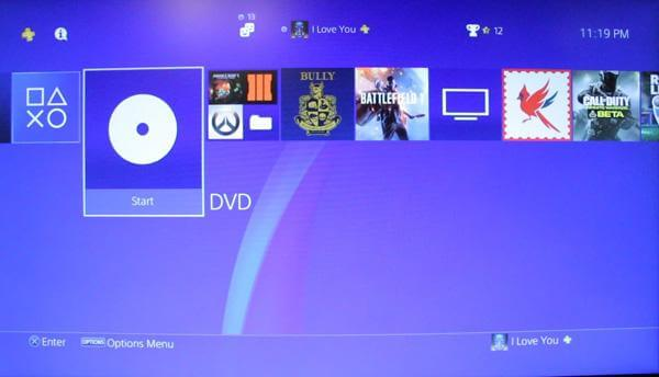 Play dvd on ps4
