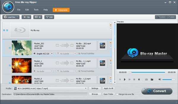 Выберите списки аудио Blu-ray