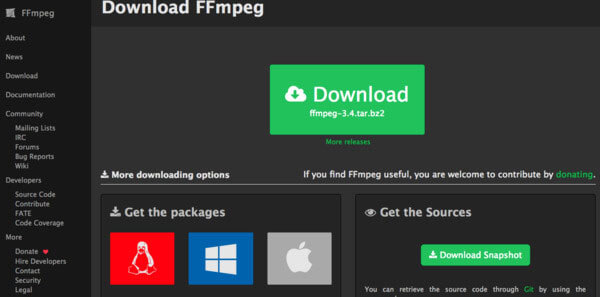 convert to raw ffmpeg