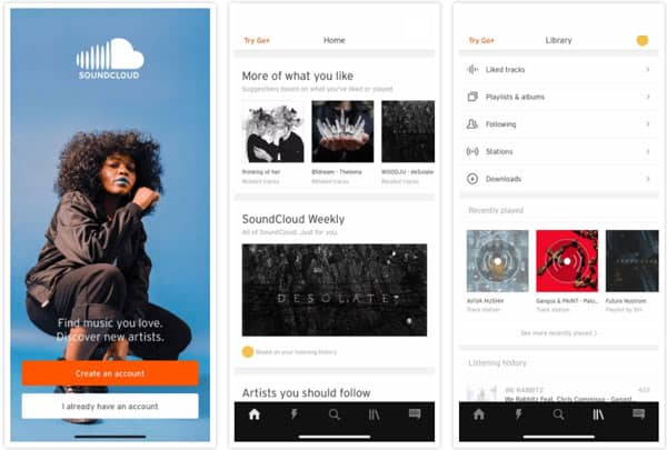 Application Soundcloud Mmusic Player