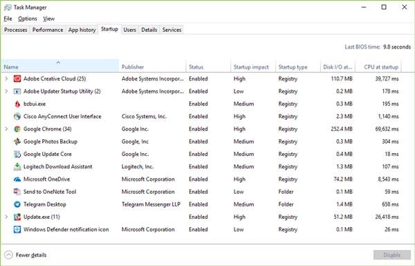 Gestionnaire de tâches Windows10