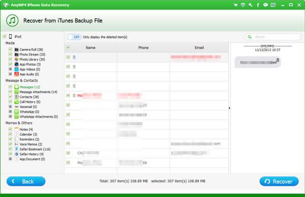 choisissez des SMS depuis iTunes Backup