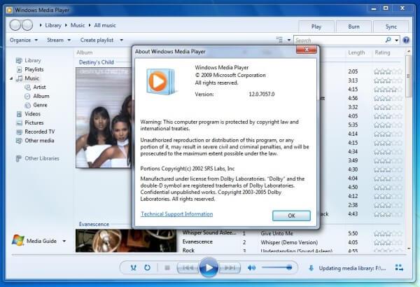 Проигрыватель Windows Media 12