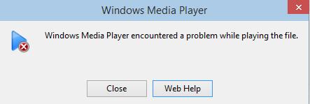 Проигрыватель Windows Media обнаружил проблему