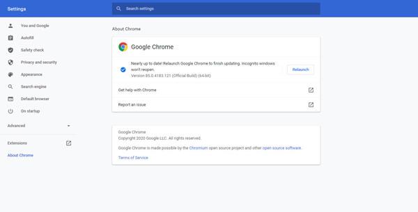 Mettre à jour Chrome