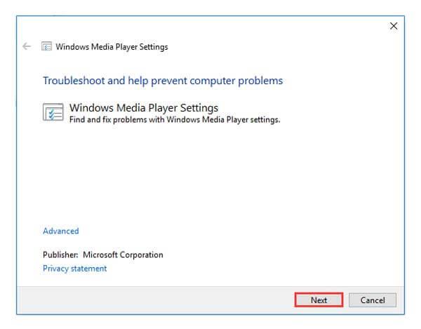Exécuter les paramètres du lecteur Windows Media