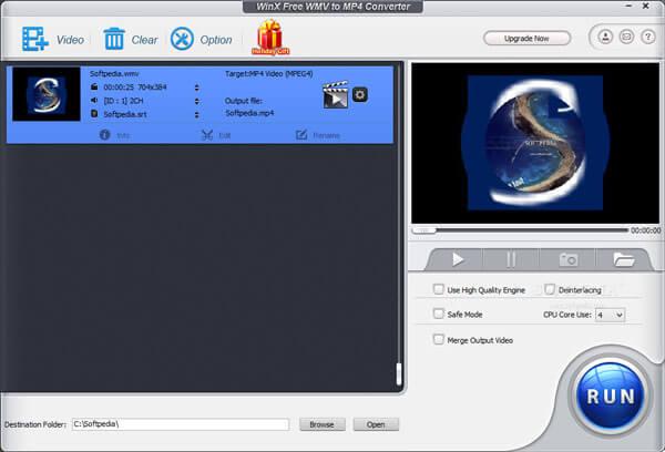 WinX Бесплатный Конвертер WMV в MP4