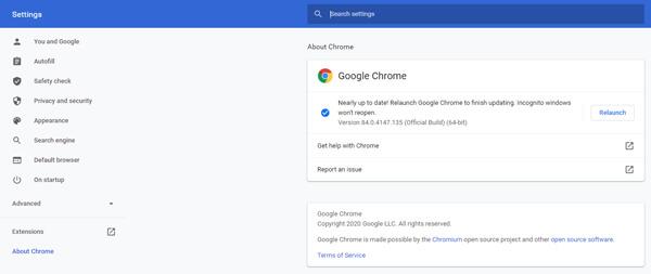 Обновить Chrome