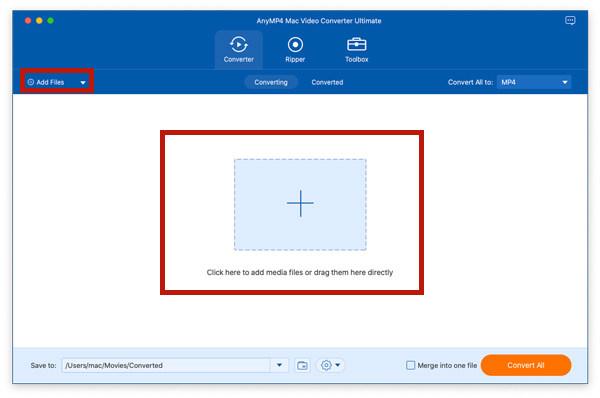 Добавить файлы в Video Converter Ultimate