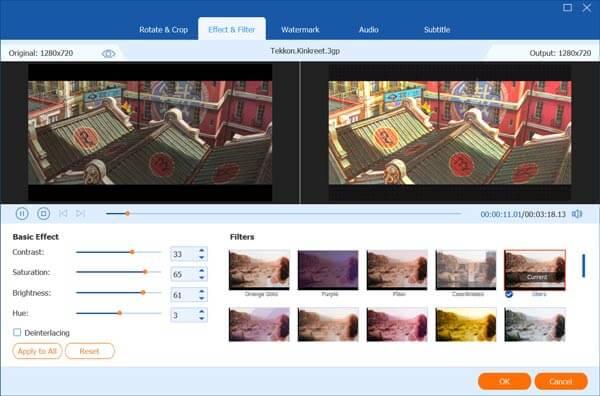 Modifier la vidéo et les effets personnalisés