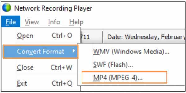 Конвертируйте ARF в MP4 с помощью проигрывателя сетевых записей