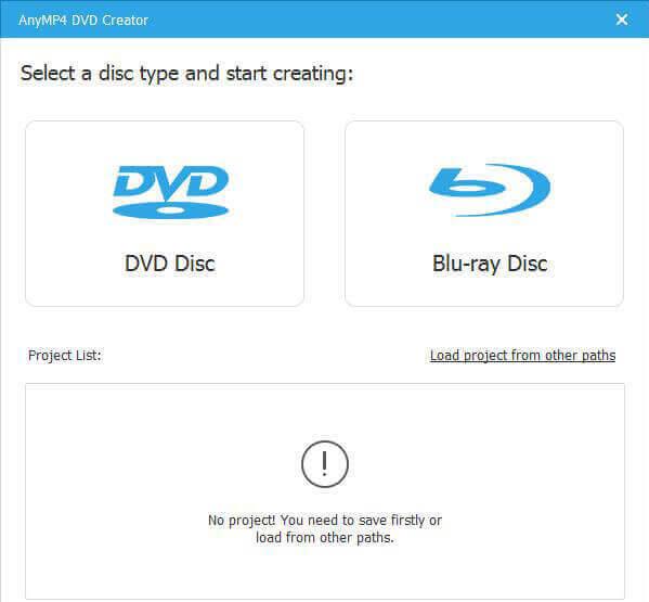 Sélectionnez Type dans le créateur de DVD