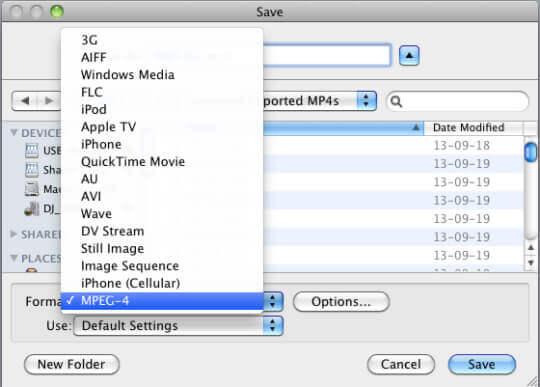 Выберите кодек MPEG-4