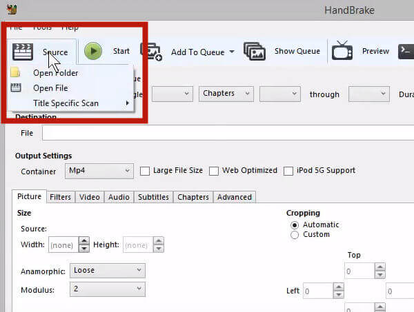 Загрузите видео AVI для конвертации в HandBrake