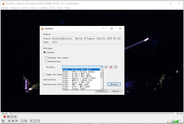 Конвертировать SWF в MP4 VLC